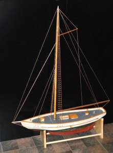 This wooden replica of a boat from the Mounds Flea Fleet was stolen from the Naugatuck Historical Society in November. The society is now turning to the public for help to retrieve the model. –CONTRIBUTED