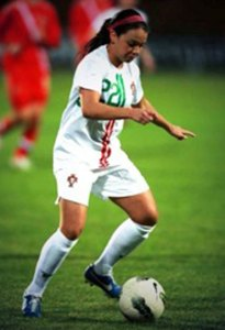 Naugatuck's Steph Santos, a junior midfielder at the University of Hartford, played for the Portuguese national women's soccer team at the 21st Algarve Cup Tournament earlier this month in Portugal. –CONTRIBUTED