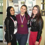 Six Woodland Regional High School students participated in the Connecticut Council of Language Teachers Poetry Recitation Contest on March 1. Pictured, from left, Rayhan Luzeri won the silver medal for 9-10 grade Arabic, Andreea Ionesca won the gold medal for French 2 and Chloe Veiera won the silver medal for 9-10 grade Portuguese. -CONTRIBUTED