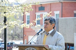 Naugatuck 2014 Earth Day Mayor of the Day Felipe Flores speaks to residents, students and officials during a ceremony April 25 in front of Town Hall. –LUKE MARSHALL