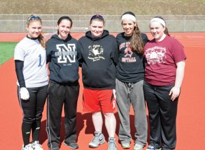 Naugatuck softball captains, from left, Kara Klimaszewski, Kait Barry, Gillian Fortier, Erica Bohuski and Shannon Searles have the team intense and sharp heading into the season. –LUKE MARSHALL