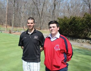 Woodland senior Andy O'Dell, left, and junior Mike Erickson will lead the golf team this season as captains. The Hawks are looking to continue building on the progress made over the past couple of years. –ELIO GUGLIOTTI