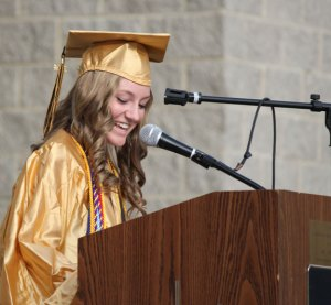 Woodland Regional High School Class of 2014 Valedictorian Alexa Kiernan gives her valedictorian address during graduation June 20 at the school in Beacon Falls. –ELIO GUGLIOTTI