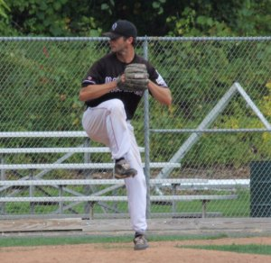 Jeff Farrell delivers a pitch during the NABA Connecticut playoffs. The Hackers lost 5-4 in the title game Sunday to the Bridgeport All-Stars in West Haven. –CONTRIBUTED