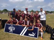 Naugatuck Youth Soccer's Elite Extreme U12 boys won the South County Rhode Island Seaside Classic July 12-13 for the second year in a row, sweeping all four games. The team, which played in the tournament's more competitive Seaside Division, scored 18 goals. Combining to score the 18 goals were Brian Portela, Brian Silva, Alex Manasoiu, Branden Lage, Zach Koslosky, Connor Kusmit, Nelson Lavoura, Brandon Sampaio and Freddie Longo. Goalie Michael Connan, with the help of the defense led by Matt Smith, limited opponents to just one goal for the tournament on a penalty kick. Pictured, bottom row from left, Matt Smith, Nelson Lavoura, Michael Connan, Brandon Sampaio, Branden Lage and Freddie Longo. Middle row from left, coach Sal Santa Maria, Alex Manasoiu, Zach Koslosky, Brian Silva, Connor Kusmit, Brian Portela and assistant coach Daniel Lavoura. Top row, coach Glenn Connan. –CONTRIBUTED