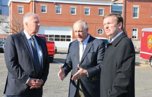 From left, Naugatuck Mayor N. Warren 'Pete' Hess, Naugatuck Economic Development Corporation President and CEO Ronald Pugliese and U.S. Sen. Christopher Murphy (D-Conn.) discuss the redevelopment of parcels A, B, and C in Naugatuck Nov. 24. Murphy visited Naugatuck to discuss how the federal government can assist the borough with the cleanup of brownfields. –LUKE MARSHALL