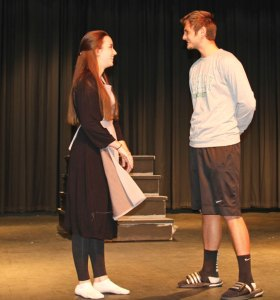 Woodland Regional High School senior Sarah McVeigh, left, and senior Patrick Vogel rehearse a scene last month from the drama club's upcoming production of 'The Sound of Music.' –LUKE MARSHALL
