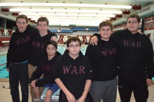 The Naugatuck boys swim team is off to 4-0 start thanks to a family atmosphere that is accentuated by three pairs of brothers on the squad, from left, Matt and Brian Goggin, Matt and Jeremy Raupach, and Dylan and Matt Triscritti. –KEN MORSE