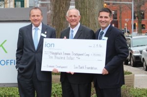 Pictured, from left, Ion Bank President and CEO Charles Boulier III, Naugatuck Economic Development Corporation President and CEO Ronald Pugliese, and David Rotatori, Sr. vice president at Ion Bank. –CONTRIBUTED