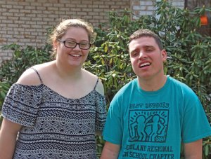 Woodland Regional High School seniors and Best Buddies Paige Brown, left, and Michael Pec. Brown organized the 2016 WRHS Best Buddies Prom, which is Saturday. –LUKE MARSHALL