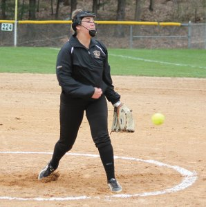 Woodland's Ivy Geloso delivers a pitch April 6 versus Oxford in Beacon Falls. Oxford won the game, 3-2. –ELIO GUGLIOTTI