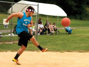 Devin Henaghan, of team Kick It and Quit It, kicks the ball during the third annual Susie Classic kickball tournament last year in Beacon Falls. The annual tournament raises money for the Susie Foundation to help fund research and support ALS patients, families and caregivers in Connecticut. This year's Susie Classic is Aug. 6. –RA ARCHIVE