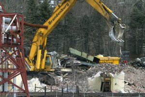 The former Uniroyal building in Naugatuck was demolished in 2008. Borough officials are now looking at the property, which is now owned by Chemtura Corp., as a potential site for an industrial park. –RA ARCHIVE
