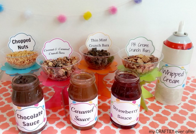 ice cream sundae party with nestle crunch girls scout cookie bars