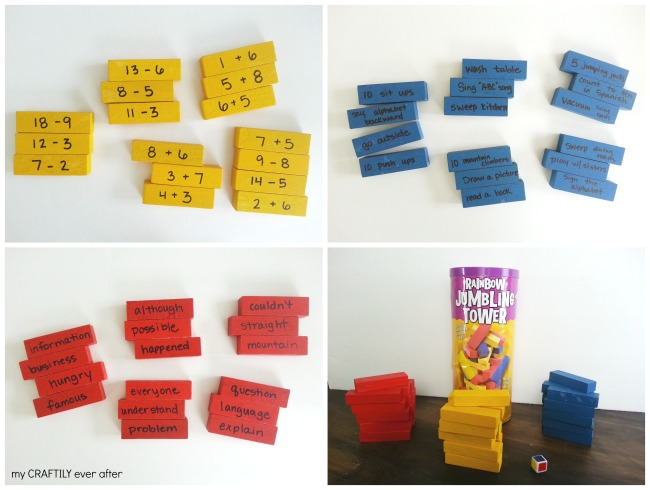 summer jenga activity game pieces
