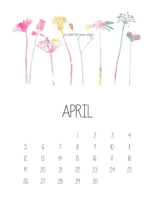 April Watercolor Calendar Watermarked