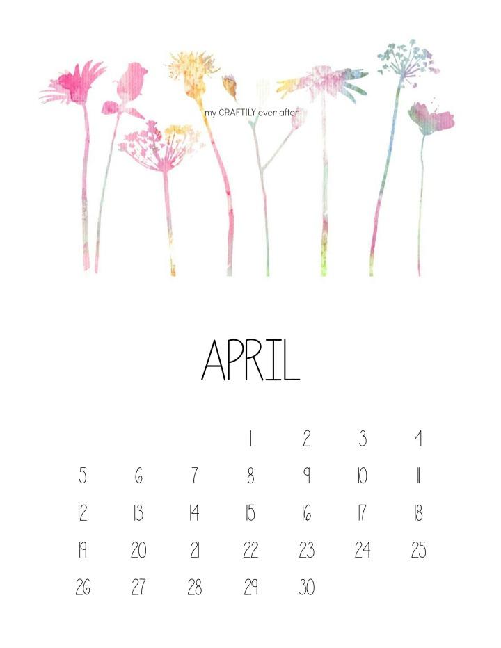 April Watercolor Calendar Watermarked