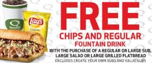 quiznos coupon 300x126 Quiznos ~ FREE Chips and Drink with Purchase