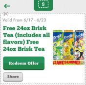 tea 300x298 FREE 24 oz. Brisk Tea June 17th 23rd   7 Eleven Mobile App