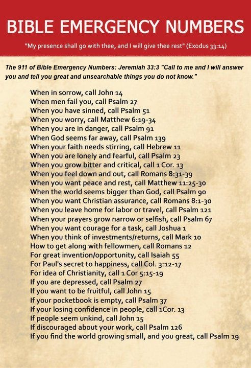 Prayers for the Week - Bible Emergency Numbers