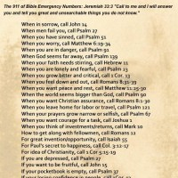 Prayers for the Week -- Bible Emergency Numbers