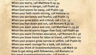 Prayers for the Week — Bible Emergency Numbers