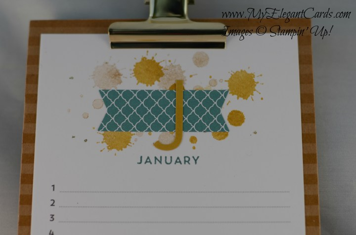 Stampin' Up! Perpetual Birthday calendar - January - top detail