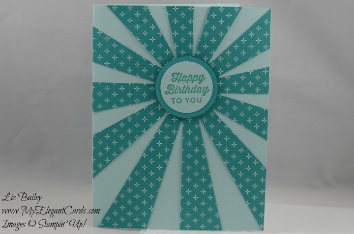 Stampin' Up! Sunburst Sayings and Sunburst Thinlits Die and Have a cuppa DSP