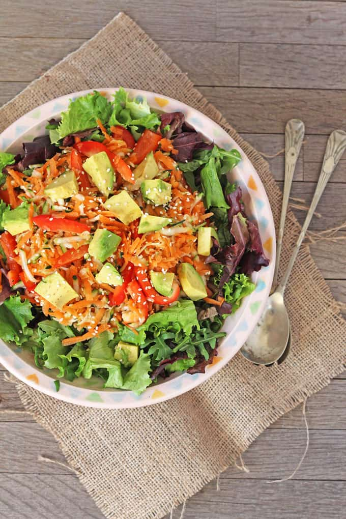 Carrot, Courgette & Avocado Salad. A delicious fresh salad perfect for summer | My Fussy Eater Blog