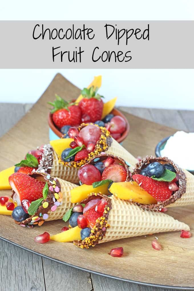 Chocolate Dipped Fruit Cones. A fantastic healthy snack for kids. Perfect for parties too! | My Fussy Eater Blog
