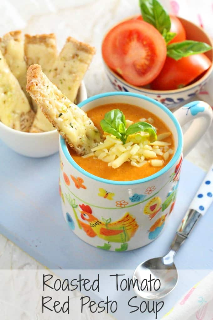 Roasted Tomato Soup, super easy to make and served with Cheddar ...