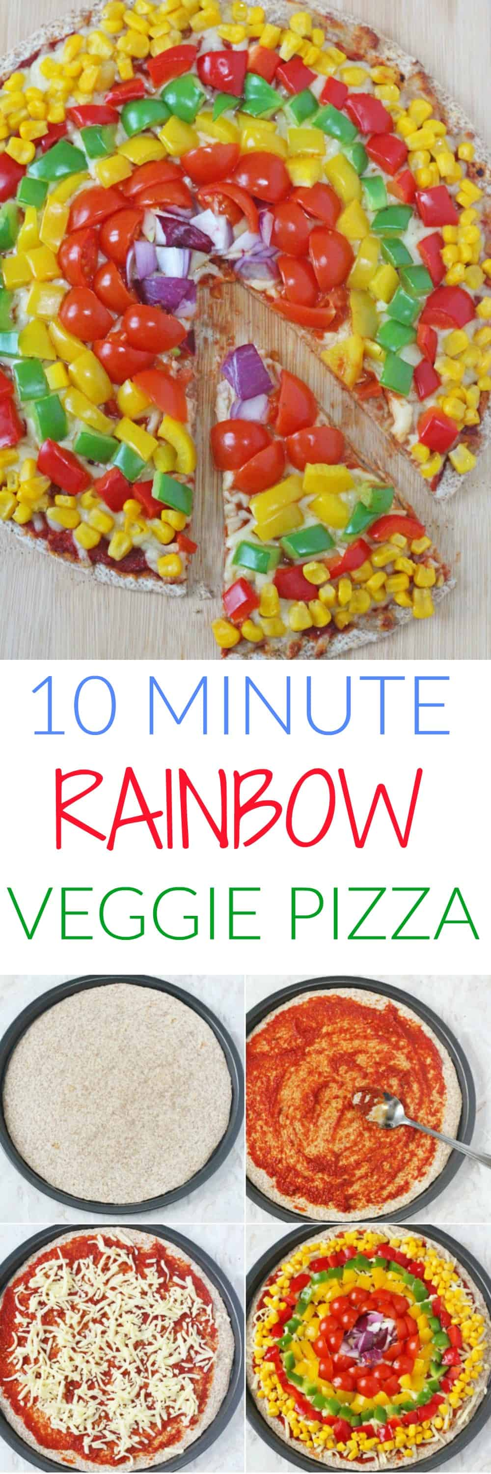 Quick and easy Rainbow Vegetable Tortilla Pizza. Ready in just 10 minutes they're a great healthy alternative to regular pizza that kids will love!
