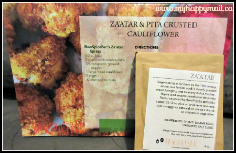 RawSpiceBar Review The Istanbul Spice Box September 2015 Zaatar and Pita Crusted Cauliflower