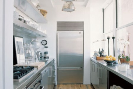 3 stainless steel galley kitchen design