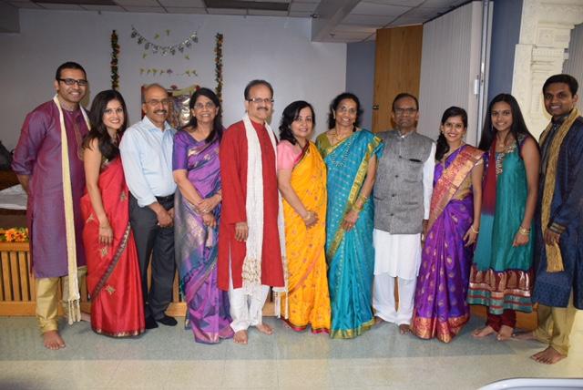Indian family at newlywed pooja