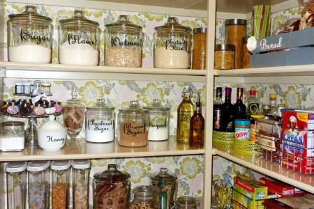 chic white kitchen pantry cabinet design idea with gl