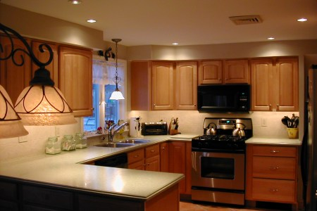 minimalist kitchen with kitchen lighting ideas completed with kitchen units