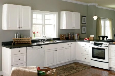home de kitchen design with white cabinet cmpleted with sink