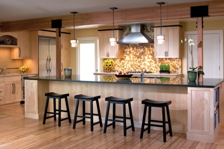 large kitchen designs ideas completed with black chairs