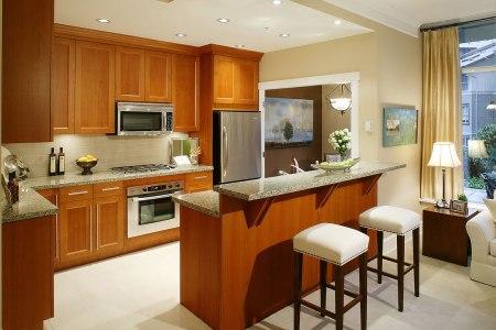 minimalist open kitchen design ideas applying wooden cabinets