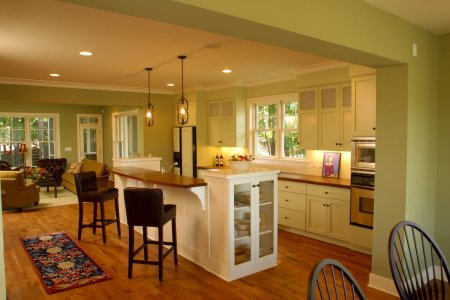 small open kitchen design ideas with antique pendant lamps