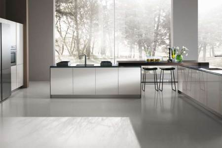 spacious area for modern italian kitchens with stylish white counter and black stools on grey flooring
