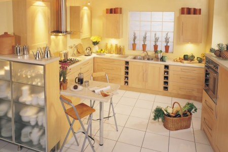 lovely lamplight in simple kitchen cabinet design ideas with calm wall paint and fresh accessory