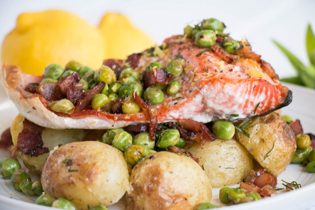 Salmon with Potatoes and a Bacon Pea Salad | My Kitchen Love