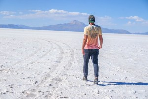 salt flat mountain walking