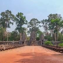 Angkor temple entrance bridge