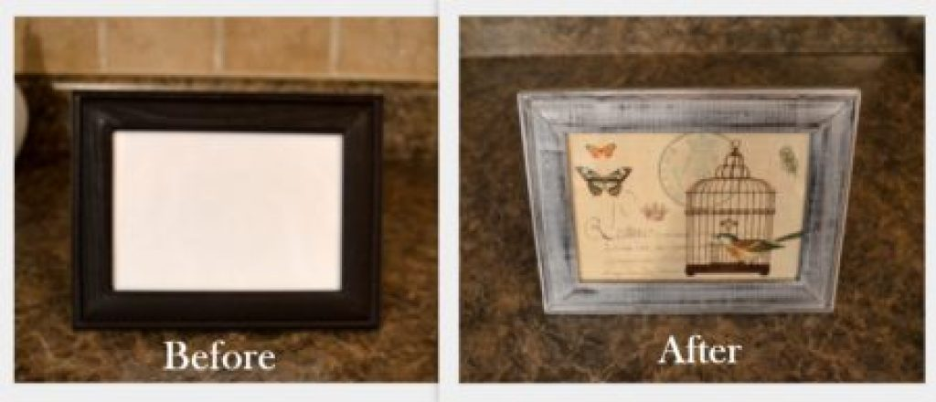 """DIY Distressed Pic frame BEFORE AND AFTER """