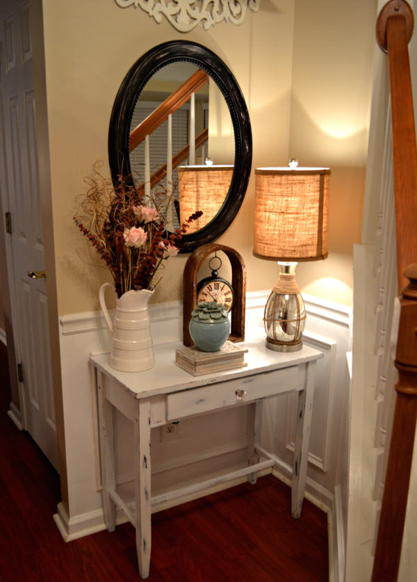 Foyer Table Styling : Diy shabby chic table distressing tutorial my love of