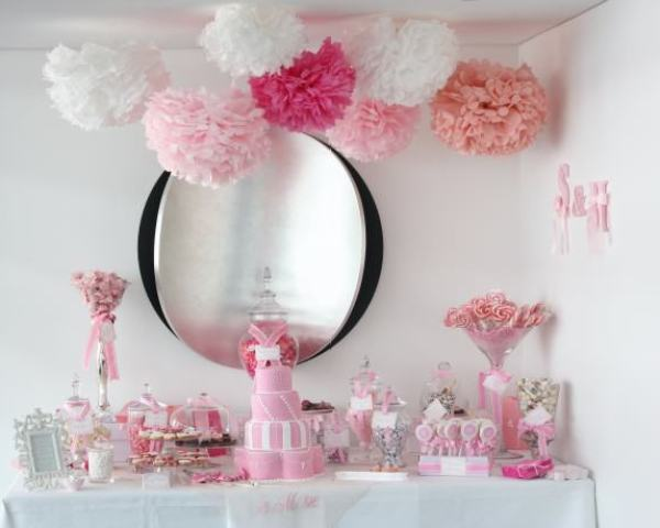 """Pink and White Candy Buffet"""