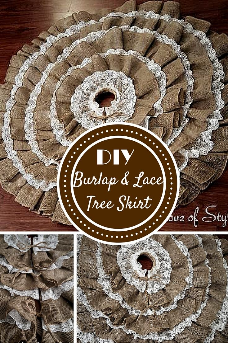 DIY Burlap & Lace Christmas Tree Skirt